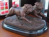 Pug Pair Moving on Marble Base (