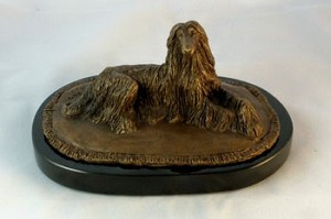 "Afghan Hound Lying on Rug  with Marble Base (3.75""H x 4.25""W x 7""L)"