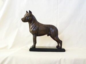 "American Staffordshire Terrier on Marble Base 8""H x 8.5 L x 3""D"