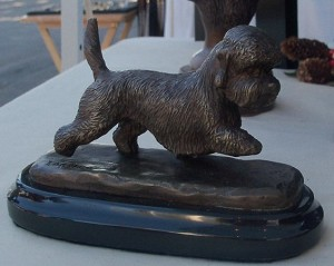 "Dandie Dinmont Terrier Moving on Marble Base (4""H x 2.5""W x 5""L)"