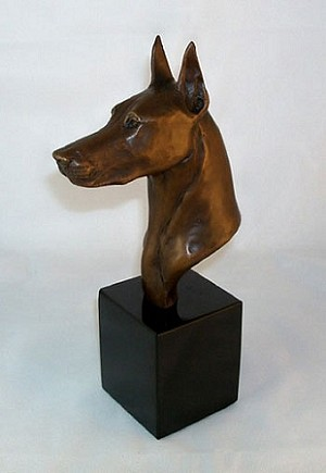 "Doberman Pinscher Bust on marble base (9""H x 3""W x 5""L)"