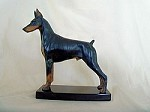 Doberman Pinscher Standing Colored Patina with Marble Base (10