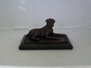 "Boxer with natual ears (lying)  4""H x $'W x 5""L"