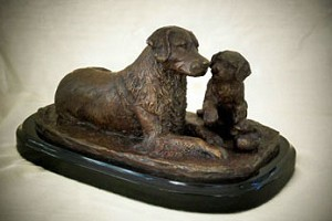 "Golden Retriever & Pup on Marble Base (5.25""H x 6.5""W x 10""L)"