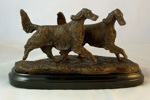 "Irish Setter ""Pair of Setters Running""  on Marble Base (5.25""H x 4""W x 8.5""L)"