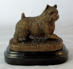"Norwich Terrier Paw up on Marble Base (4""H x 3""W x 4.5""L)"