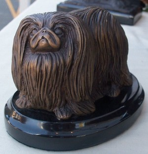 "Pekinese Standing on marble base (""H x ""W x ""L)"