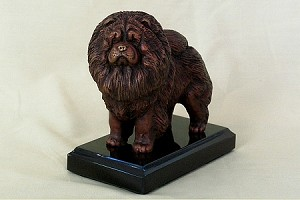 "Chow Chow Standing with Colored Patina on Marble Base (5""H x 3""W x 5""L)"