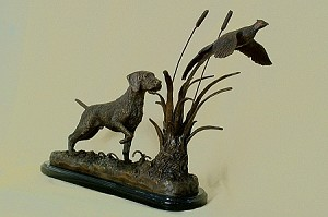 "German Wire-Haired Pointer & Pheasant on Marble Base (15""H x 6""W x 18""L)"
