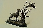German Wire-Haired Pointer & Pheasant on Marble Base (15