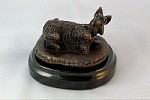 Scottish Terrier on Bed with Marble Base (2.5