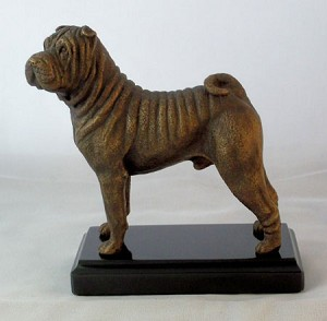 "Chinese Sharpei Standing on Marble Base (5.75""H x 3""W x 5""L)"