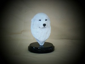 "Great Pyrenees bust in white patina 5""h x 4""w x 4.5""d"