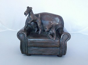 "Wirefox Terriers On Sofa - 5"" W x 5"" H x 4.5"" D"